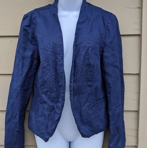 Cynthia Rowley TJX linen blazer in navy blue large